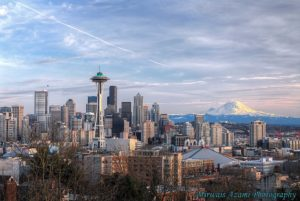 Seattle skyline with the Space Needle and Mount Rainier visible