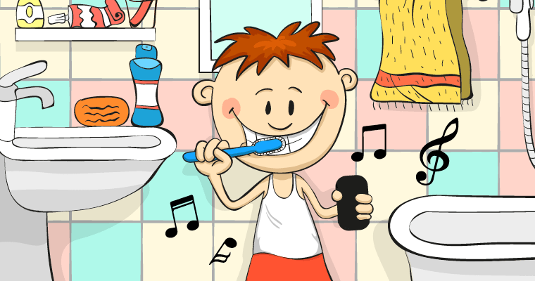 Child standing toward the sink brushing teeth with the Brush DJ App