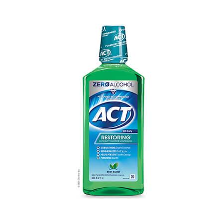 ACT Restoring Zero Alcohol Fluoride Mouthwash